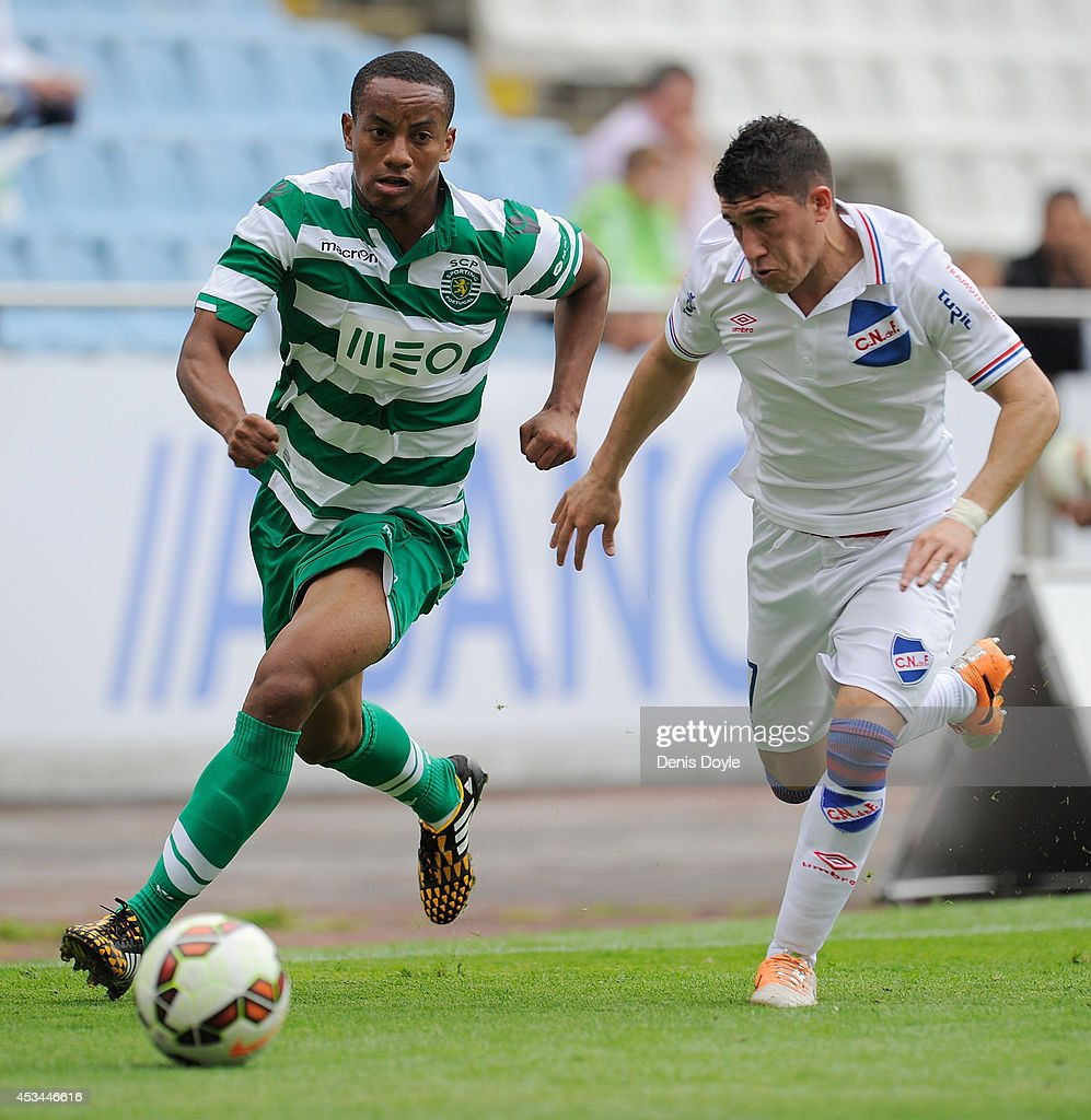 Andre Carrillo of Sporting Clube de Portugal in action during the Teresa Herrera Trophy match between Sporting Clube de Portugal and Club Nacional de Football at estadio Municipal de Riazor on August 10, 2014 in A Coruna, Spain.
