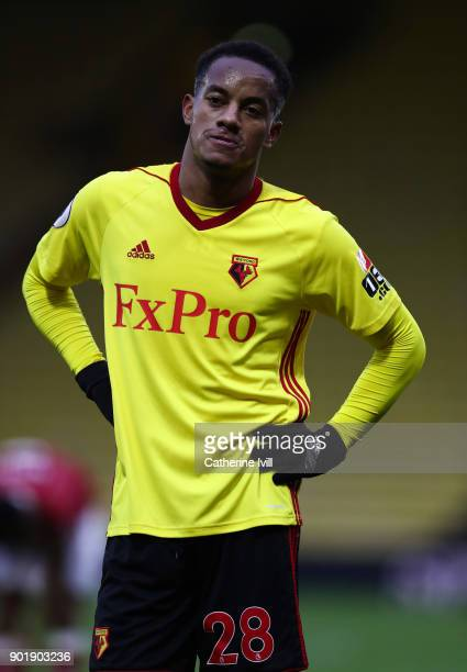Andre Carrillo of Watford during the Emirates FA Cup Third Round match between Watford and Bristol City at Vicarage Road on January 6 2018 in Watford...