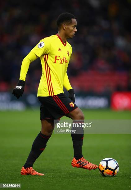 Andre Carrillo of Watford in action during The Emirates FA Cup Third Round match between Watford and Bristol City at Vicarage Road on January 6 2018...
