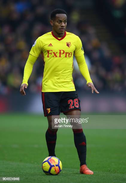 Andre Carrillo of Watford in action during the Premier League match between Watford and Southampton at Vicarage Road on January 13 2018 in Watford...