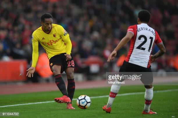 Andre Carrillo of Watford is challenged by Ryan Bertrand of Southampton during The Emirates FA Cup Fourth Round match between Southampton and Watford...