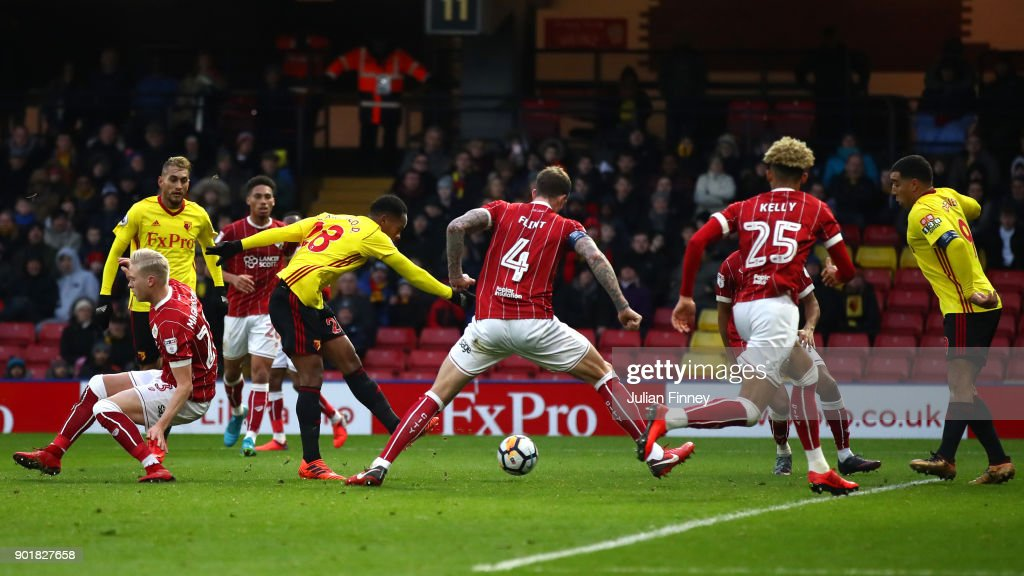 Andre Carrilo of Watford scores his sides first goal during The Emirates FA Cup Third Round match between Watford and Bristol City at Vicarage Road on January 6, 2018 in Watford, England.
