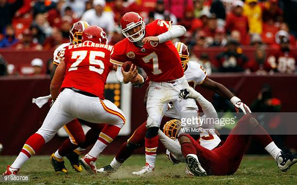 Andre Carter of the Washington Redskins sacks Matt Cassel of the Kansas City Chiefs during their game October 18, 2009 at FedEx Field in Landover,...