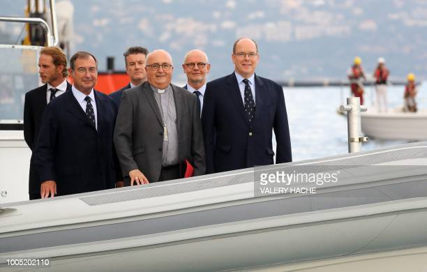 Andre Casiraghi Martin Bouygues Head of SAM L'Anse du Porter Guy Thomas LevySoussan Archbishop of Monaco Bernard Barsi Monaco Minister of State Serge...
