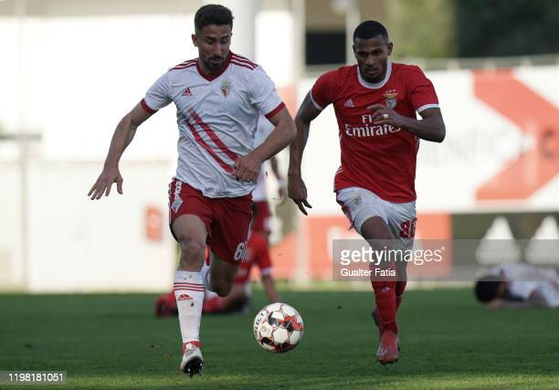 Andre Ceitil of UD Vilafranquense with Daniel dos Anjos of SL Benfica B in action during the Liga Pro match between SL Benfica B and UD...