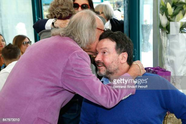 Andre Chapelle and Bruno Finck attend the Garden Party organized by Bruno Finck companion of JeanClaude Brialy at Chateau De Monthyon on September 16...