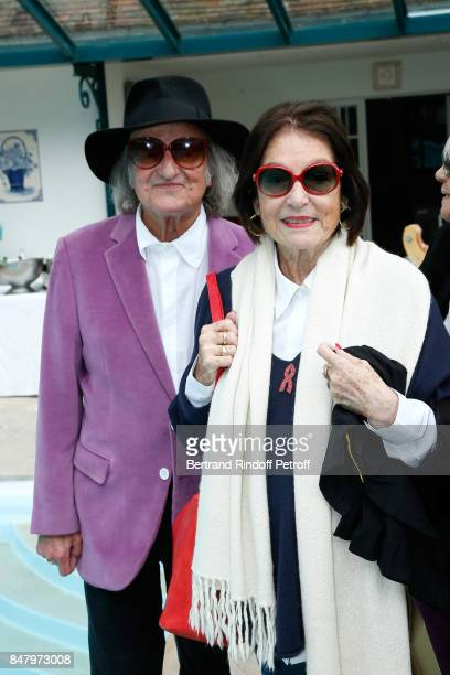 Andre Chapelle and Nana Mouskouri attend the Garden Party organized by Bruno Finck, companion of Jean-Claude Brialy, at Chateau De Monthyon on...