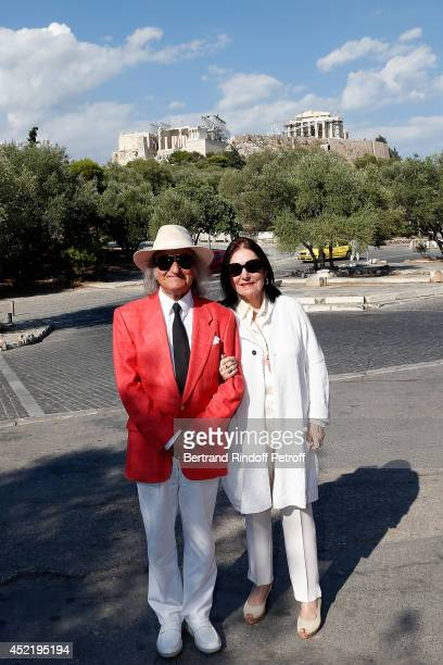 Andre Chapelle and Nana Mouskouri pose in front of the Parthenon before the 'Nana Mouskouri Birthday Tour' In Herod Atticus Odeon Theatre on July 14...