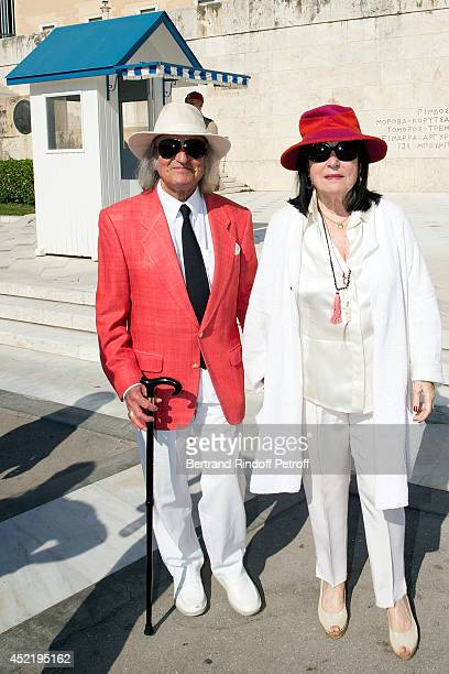 "Andre Chapelle and Nana Mouskouri pose in front of the presidential palace ""Herod Atticus"" before the 'Nana Mouskouri Birthday Tour' In Herod Atticus..."