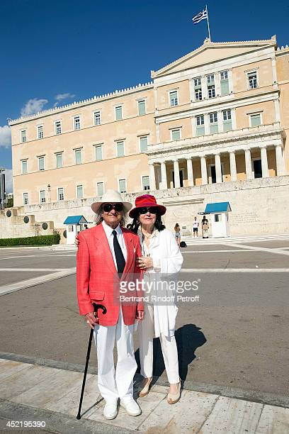 Andre Chapelle and Nana Mouskouri pose in front of the presidential palace Herod Atticus before the 'Nana Mouskouri Birthday Tour' In Herod Atticus...