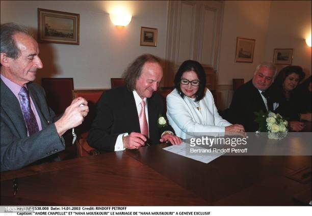 "Andre Chapelle and ""Nana Mouskouri"" the wedding of ""Nana Mouskouri"" in Geneva seated."