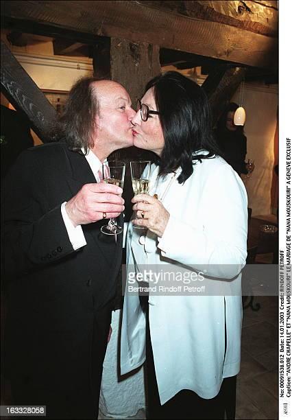 "Andre Chapelle and ""Nana Mouskouri"" the wedding of ""Nana Mouskouri"" in Geneva kiss."
