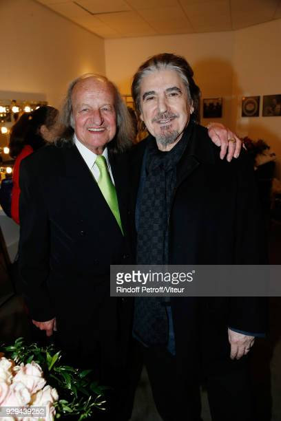 Andre Chapelle and Serge Lama attend 'Nana Mouskouri Forever Young Tour 2018' at Salle Pleyel on March 8 2018 in Paris France