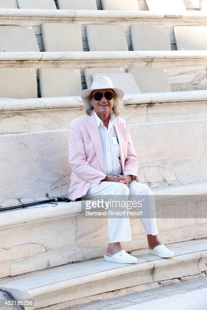 Andre Chapelle attends the repetitions before the 'Nana Mouskouri Birthday Tour' In Herod Atticus Odeon Theatre on July 14 2014 in Athens Greece