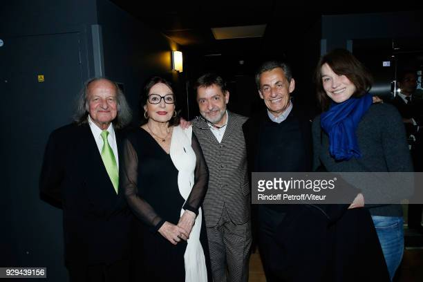 Andre Chapelle Nana Mouskouri Producer Olivier Gluzman Nicolas Sarkozy and Carla Bruni Sarkozy attend 'Nana Mouskouri Forever Young Tour 2018' at...
