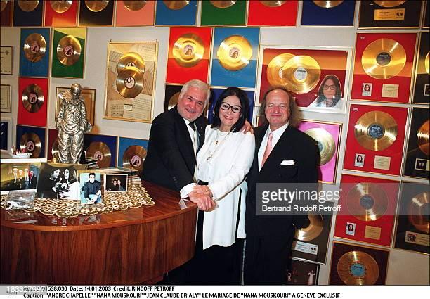 Andre Chapelle Nana MouskouriJean Claude Brialy the wedding of Nana Mouskouri in Geneva piano golden disc