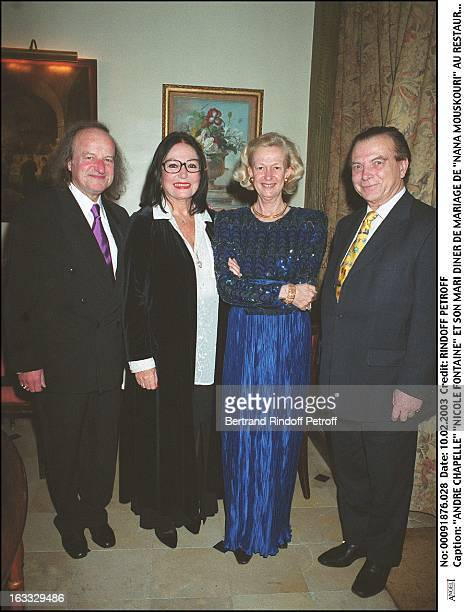 """Andre Chapelle """"Nicole Fontaine"""" and her husband """"Nana Mouskouri"""" wedding dinner at the restaurant """"L'Orangerie"""" in Paris."""