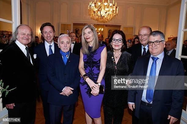 Andre Chapelle Stephane Bern singer Charles Aznavour Ambassador of Greece in Paris Maria Theofili singer Nana Mouskouri Francois Weil and President...