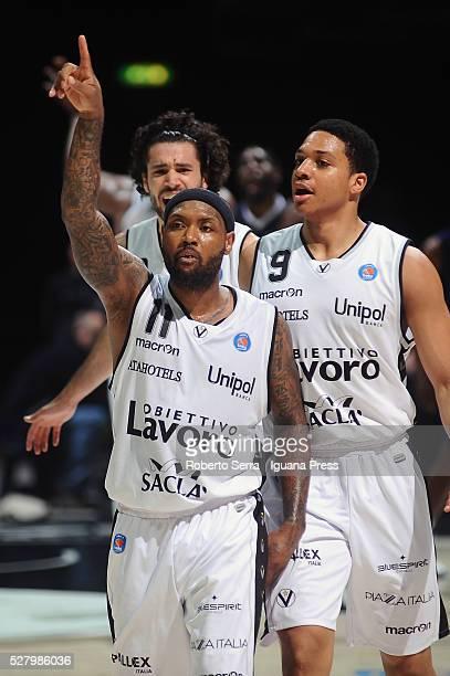 Andre Collins and Abdul gaddy and Michele Vitali of Obiettivo Lavoro celebrates during the LegaBasket match between Virtus Obiettivo Lavoro Bologna v...