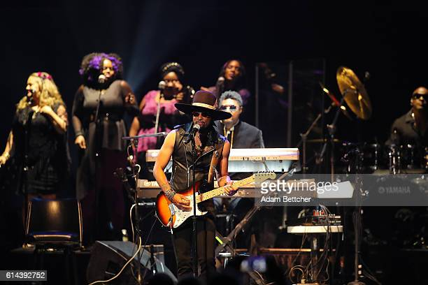 Andre Cymone performs during the 'Official Prince TributeA Celebration of Life and Music' concert at Xcel Energy Center on October 13 2016 in St Paul...