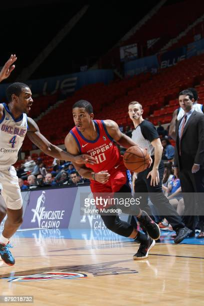 Andre Dawkins of the Agua Caliente Clippers handles the ball during a NBA GLeague game against the Oklahoma City Blue on November 25 2017 at the Cox...
