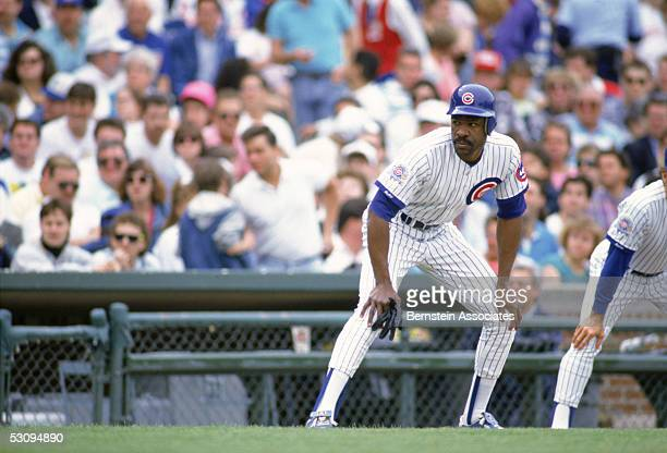 Andre Dawson of the Chicago Cubs gets ready to steal second base during a 1990 season game. Andre Dawson played for the Cubs from 1987-1992.