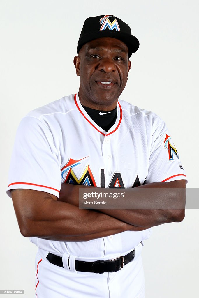 Andre Dawson of the Miami Marlins poses for photos on media day at Roger Dean Stadium on February 24, 2016 in Jupiter, Florida.
