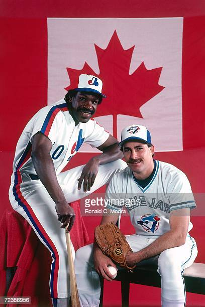 Andre Dawson of the Montreal Expos and Dave Stieb of the Toronto Blue Jays pose in front of the Canadian Flag before the 1983 AllStar Game at...