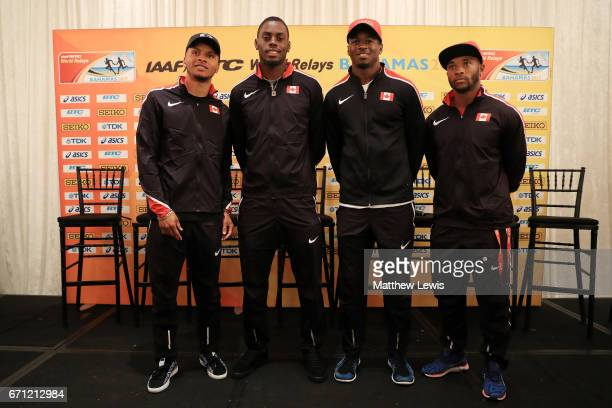 Andre De Grasse Akeem Haynes Aaron Brown and Brendon Rodney of Team Canada take part in a press conference prior to the IAAF / BTC World Relays...