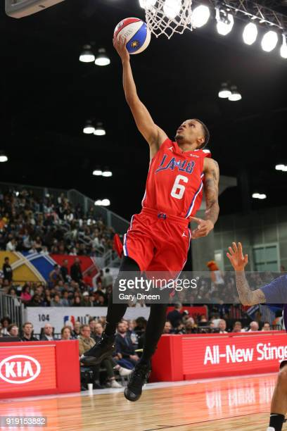 Andre De Grasse drives to the basket during the NBA AllStar Celebrity Game presented by Ruffles as a part of 2018 NBA AllStar Weekend at the Los...