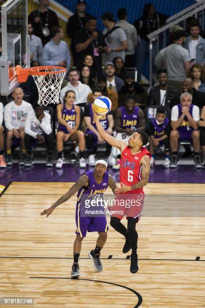 Andre De Grasse goes for a lay up during the 2018 NBA AllStar Celebrity Game as part of AllStar Weekend at the Los Angeles Convention Center in Los...