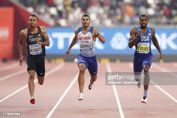 Andre De Grasse of Canada, Adam Gemili of Great Britain and Noah Lyles of the United States compete in the Men's 200 Metres final during day five of...