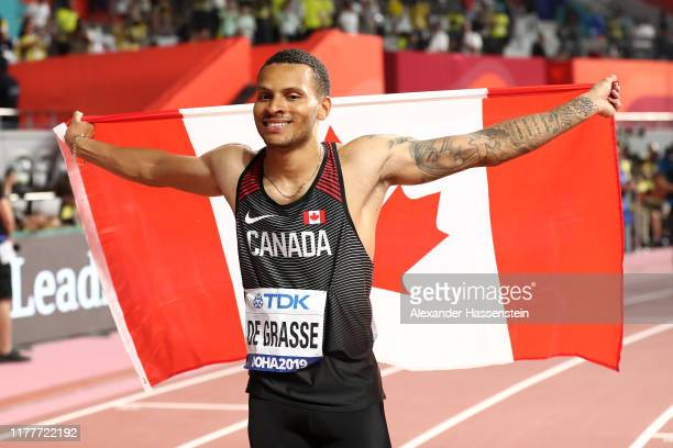 Andre De Grasse of Canada celebrates after winning bronze in the Men's 100 Metres final during day two of 17th IAAF World Athletics Championships...