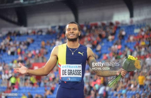 Andre De Grasse of Canada celebrates winning the 200m Men sprint of IAAF Golden Spike 2019 Athletics meeting in Ostrava on June 20 2019