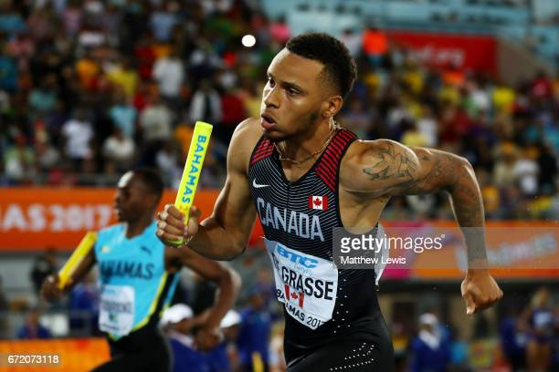 Andre De Grasse of Canada competes in the Men's 4x200 Metres Relay Final during the IAAF/BTC World Relays Bahamas 2017 at Thomas Robinson Stadium on...