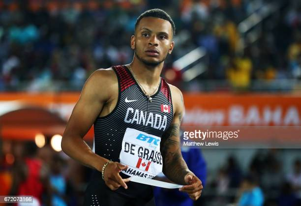 Andre De Grasse of Canada prepares to compete in the Men's 4x200 Metres Relay Final during the IAAF/BTC World Relays Bahamas 2017 at Thomas Robinson...
