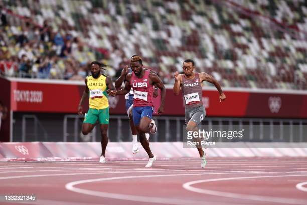 Andre de Grasse of Team Canada wins the Men's 200m Final on day twelve of the Tokyo 2020 Olympic Games at Olympic Stadium on August 04, 2021 in...