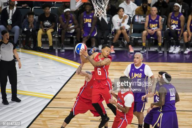 Andre De Grasse of Team Clippers gets the rebound during the 2018 NBA AllStar Celebrity Game as part of AllStar Weekend at the Los Angeles Convention...