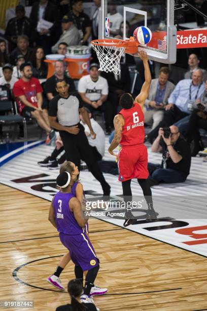 Andre De Grasse of Team Clippers makes a lay up during the 2018 NBA AllStar Celebrity Game as part of AllStar Weekend at the Los Angeles Convention...