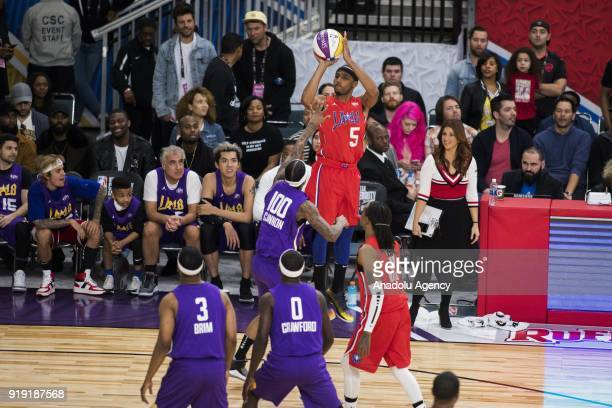 Andre De Grasse of Team Clippers shoots a threepointer during the 2018 NBA AllStar Celebrity Game as part of AllStar Weekend at the Los Angeles...