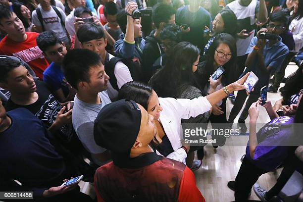 Andre De Grasse poses for selfies. Olympic triple sprint medalist, Andre De Grasse returns his alma mater, Milliken Mills High School, to join...