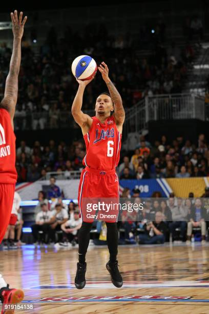 Andre De Grasse shoots the ball the ball during the NBA AllStar Celebrity Game presented by Ruffles as a part of 2018 NBA AllStar Weekend at the Los...