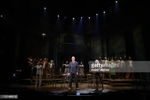 Andre De Shields Patrick Stewart and Anais Mitchell during the Broadway Press Performance Preview of Hadestown at the Walter Kerr Theatre on March 18...
