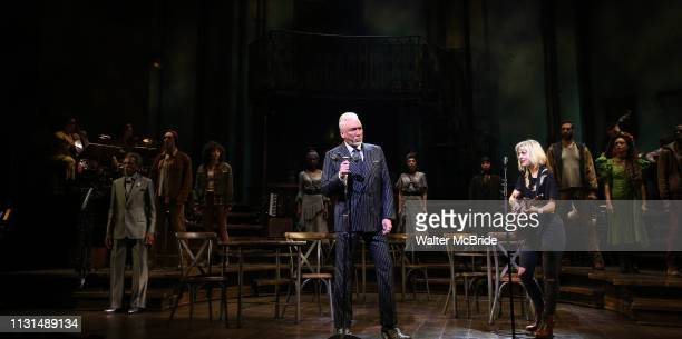 Andre De Shields Patrick Stewart and Anais Mitchell during the Broadway Press Performance Preview of 'Hadestown' at the Walter Kerr Theatre on March...