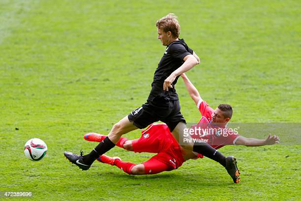 Andre DeJong of New Zealand is tackled by Julian Velarde of Panama during the U20 Five Nations match between New Zealand and Panama at QBE Stadium on...