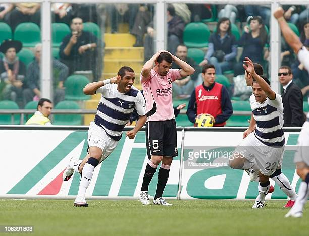 Andre Dias of Lazio celebrates his opening goal during the Serie A match between Palermo and Lazio at Stadio Renzo Barbera on October 31 2010 in...
