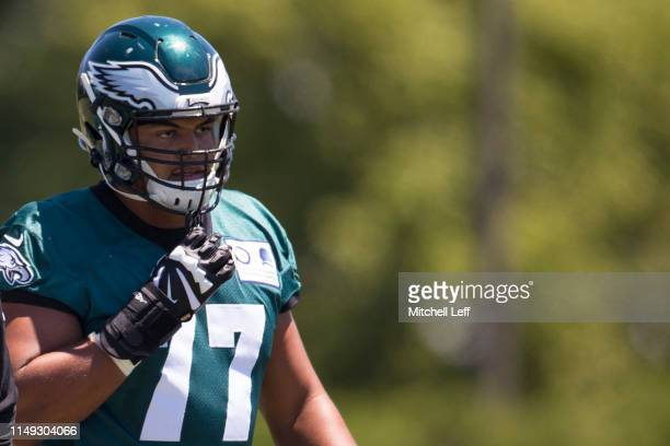 Andre Dillard of the Philadelphia Eagles looks on during mandatory minicamp at the NovaCare Complex on June 11 2019 in Philadelphia Pennsylvania