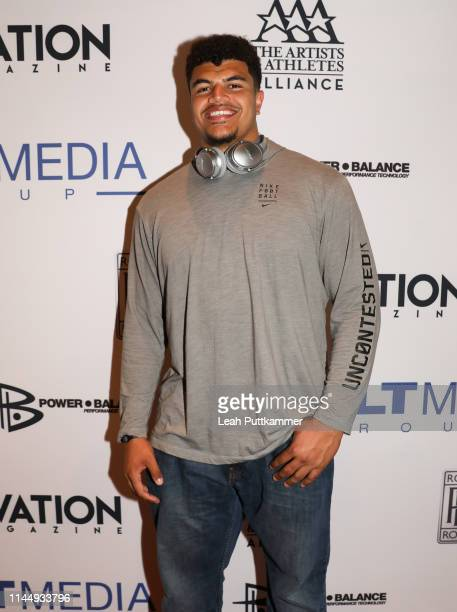 Andre Dillard of the Washington State Cougars attends the Vault Media Group and Ovation Magazine 2019 NFL Draft kickoff party at STK Nashville on...