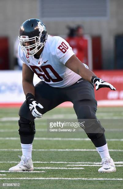 Andre Dillard of the Washington State Cougars in his stance at the line of scrimmage during their game against the Utah Utes at RiceEccles Stadium on...