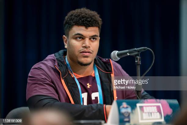 Andre Dillard #OL13 of the Washington State Cougars is seen at the 2019 NFL Combine at Lucas Oil Stadium on February 28 2019 in Indianapolis Indiana